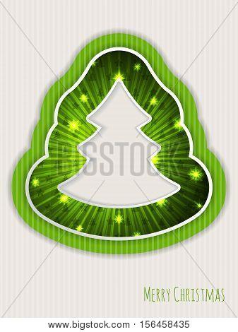 Green christmas greeting card design with bursting christmas tree
