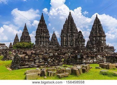 Prambanan temple near Yogyakarta on Java island Indonesia - travel and architecture background