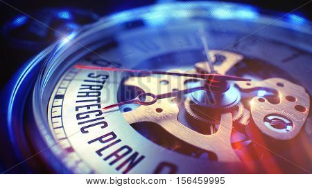 Vintage Watch Face with Strategic Plan Phrase on it. Business Concept with Vintage Effect. Pocket Watch Face with Strategic Plan Text, Close View of Watch Mechanism. Business Concept. Film Effect. 3D.