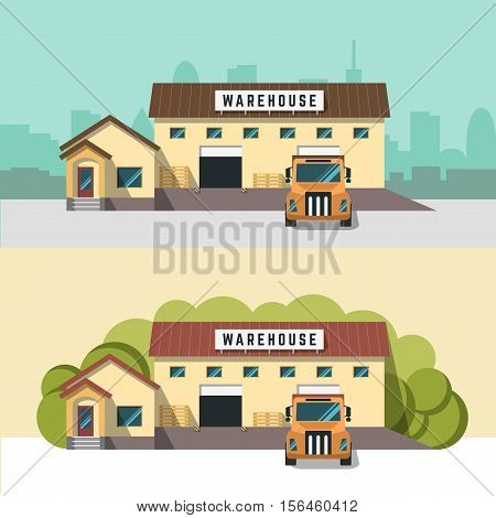 Vector banner with the image of a warehouse, logistics center, delivery mail service, advertising and design. Apply flat style. The building warehouse, working car full face in flat style.