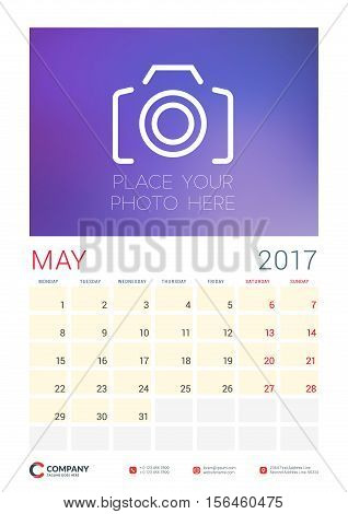 Wall Calendar Planner Template For 2017 Year. May. Vector Design Template With Place For Photo. Week