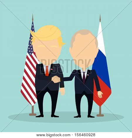 Russia November. 08, 2016 Donald Trump and Vladimir Putin shaking hands. Russian and american flags.