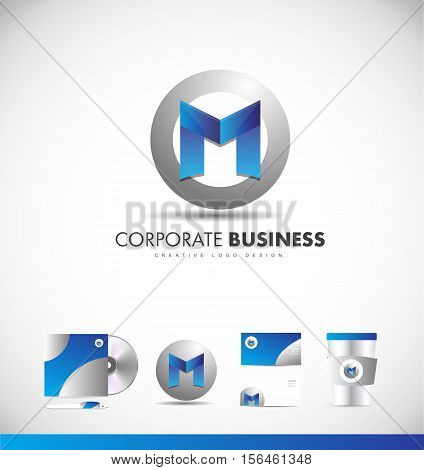 Alphabet letter M corporate business circle sphere vector logo icon sign design template identity