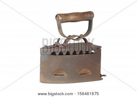 Old iron coal iron flatiron on the white background