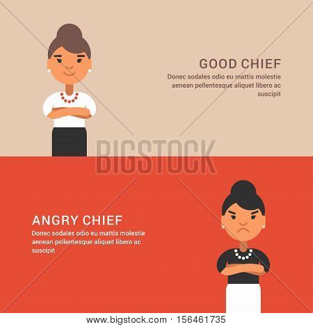 Expressions and emotions. Two horizontal web banners with female chief. Good and angry woman chief. Flat colored vector illustration