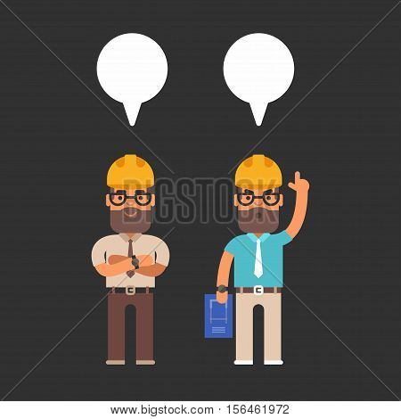 Construction engineers. Colored flat vector illustration on black background with a text bubble cloud.