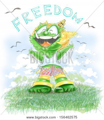 Thai Giant has Freedom. He is very happy in green field and bird Character design. freehand pencil sketch color soft tone very sweet.