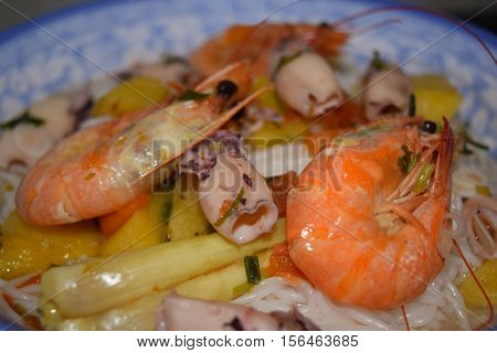 Rice Noodle Or Vermicelli With Seafood