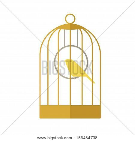 Flat icon of a canary in a golden cage.