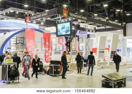 St. Petersburg, Russia - 2 October, Preparatory work before the forum, 2 October, 2016. Construction and preparation work for the St. Petersburg Gas Forum.