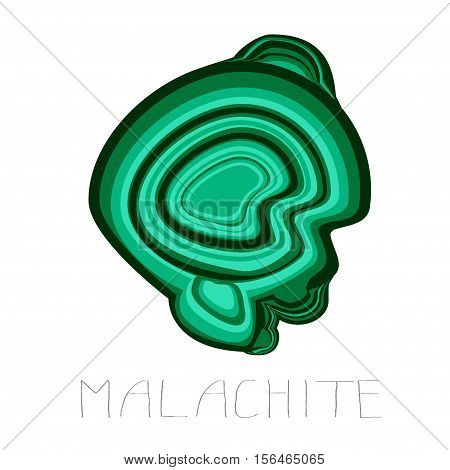 Illustration of malachite on white background with hand drawn inscription.