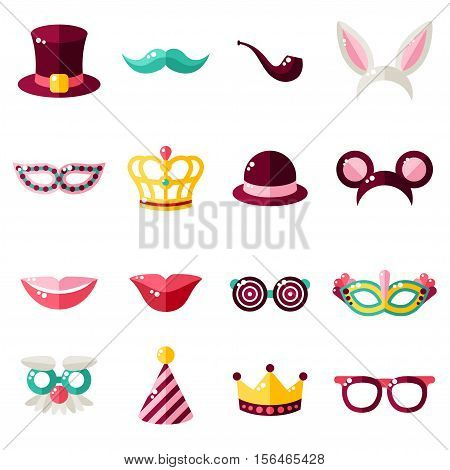Carnival Masks Set Isolated on White Background. Vector illustration. Rabbit Ears, Detective Hat and Pipe, Carnival Masks, Smiling Lips, Princess Crown.