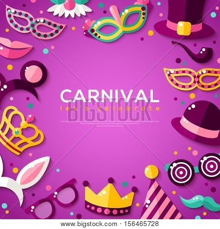 Frame with Carnival Masks on Purple Background. Vector illustration. Masquerade Party Concept Template with Place for Text