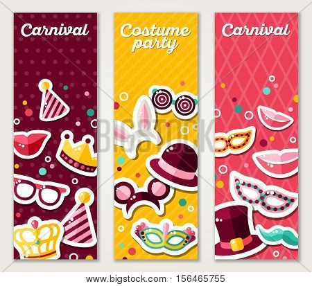 Set of Vertical Banners with Carnival Masks and Objects. Vector Illustration. Masquerade Party Concept Template with Colorful Stickers.