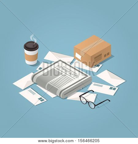 Vector isometric illustration concept of morning mail delivery. Letters morning newspaper glasses cup of hot coffee cardboard box.