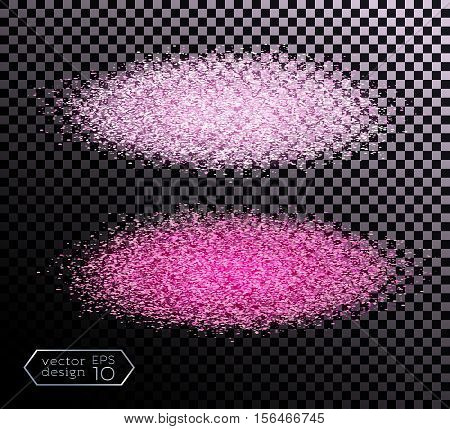 Cloud of glowing dust on a dark background. Spot of paint. Color bright sand. India, Holi Festival. Isolated vector element for web design. Vector illustration EPS 10