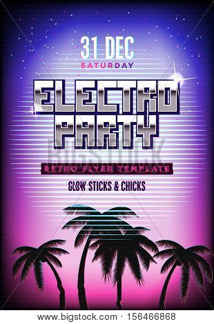 Electro party poster. Retro 80s neon background. Disco flyer template. Vertical format. Tv glitch effect