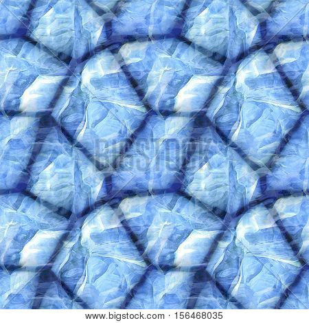 Seamless pavement stone pattern with frozen surface. Blue and white 3d background with sharp stones covered with ice