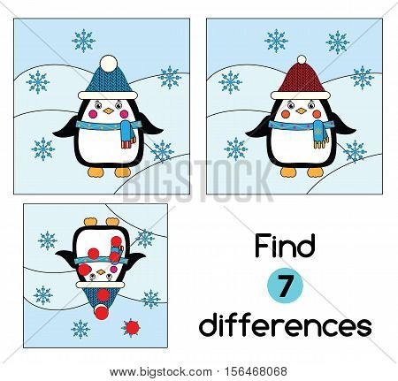 Find the differences educational children game with answer. Kids activity sheet with winter scene and penguin