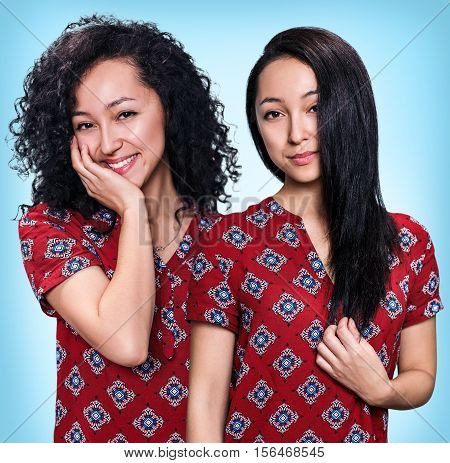 Young woman with black hair before and after straightening over blue background