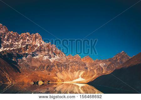 Himalaya Mountain landscape. Dudh pokhari Gokyo lake and Phari Lapche peak at sunrise - Gokyo - Way to Cho Oyu Base Camp - Nepal