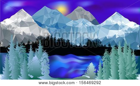 Mountain winter landscape with lake and trees. Forest with conifers, mountain lake and sky with rising sun