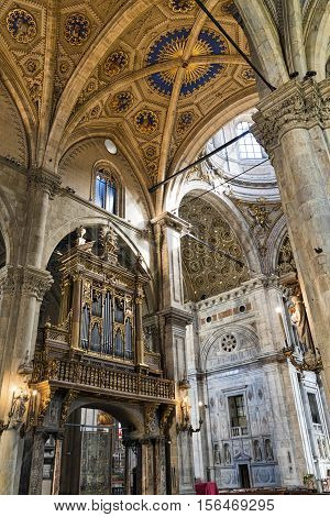COMO, ITALY - JUNE 27, 2016: Como (Lombardy Italy): interior of the medieval cathedral built from 1396 to 1770