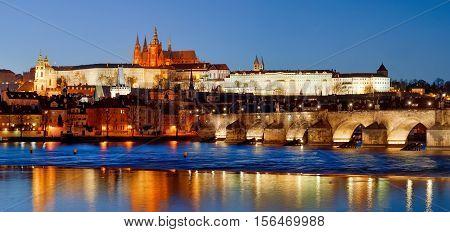 Prague Czech Republic - scenic view of Charles Bridge Castle (Hradcany) and St. Vitus at night