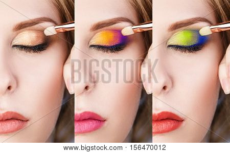 Set of bright colorful make-up on closed eyes with brush.