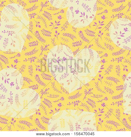 Floral ornate doodle seamless pattern with hearts in yellow color. Romantic design for wedding and Valentine's day. For backgrounds, wallpapers, wrapping paper, textile, prints.