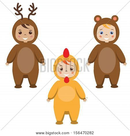 Kids party outfit. Cute smiling happy children in animal carnival costumes vector illustration. Isolated children in deer bear and rooster chicken clothes