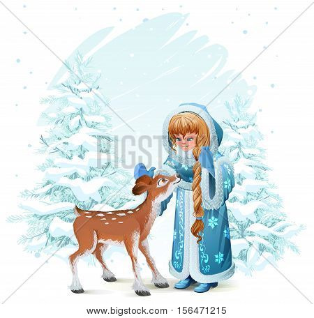 Snow Maiden in blue fur coat and fawn among pine trees in winter forest. Illustration in vector format