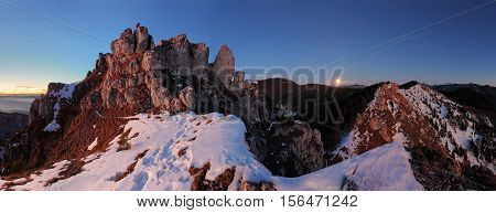 Mountain panorama with moon in Slovakia Fatras