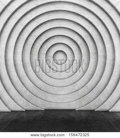 Concentric concrete wall and concrete floor. 3D rendering