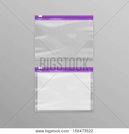 Vector Purple Sealed Empty Transparent Plastic Zipper Bags Close up Isolated on Background