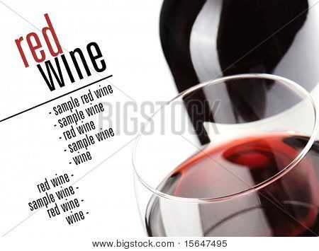 Winery menu project. Close up on glass of wine, bottle in background. Space for text isolated on white.