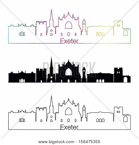 Exeter Skyline Linear Style With Rainbow