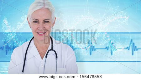 Portrait of female doctor smiling against red spiral dna pattern on screen