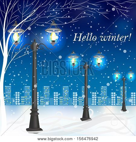 Winter evening landscape with vintage lampposts and place for your text.