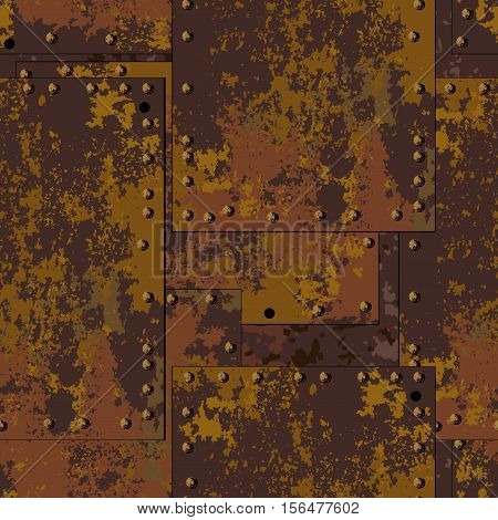 Dark old rusty metal plate with rivets seamless texture background in grunge style