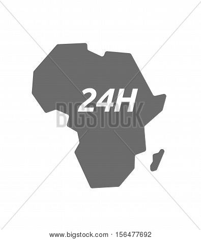 Isolated Africa Map With    The Text 24H
