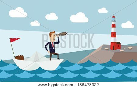 Businessman on paper boat searching for opportunity near lighthouse.