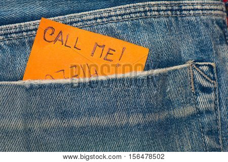 Leaf  In Jeans Pocket Wrote To Call And The Number