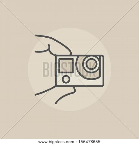 Action camera colorful icon. Vector flat extreme action cam in fingers sign or logo element