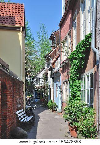 Old Town in Hanseatic City of Bremen called Schnoor,Germany