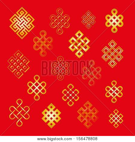 Set collection of the endless knot or eternal knot. Golden yellow sign in different variatons isolated on red background. Vector illustration.