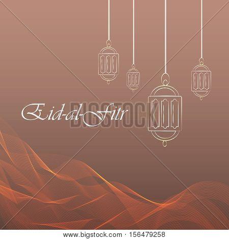 Eid-al-fitr ramadan kareem beaitiful postcard. Vector EPS10