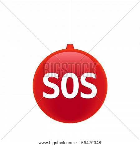 Isolated Christmas Ball With    The Text Sos