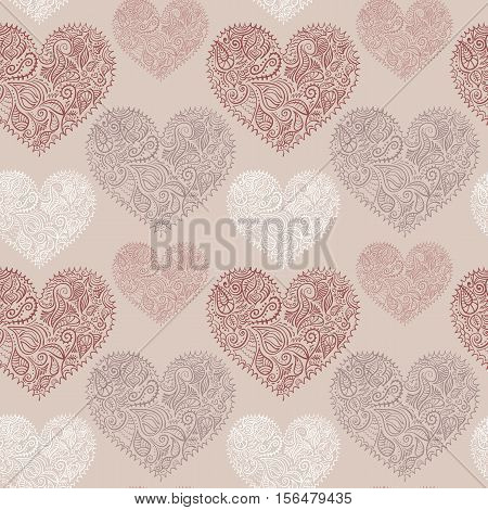 Seamless pattern with ornate hearts. Hand drawn illustration for weddings, Valentine's day and other designs.  Vector, eps10, added to swatches.