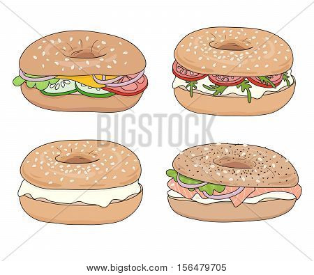 Set of 4 fresh bagel sandwiches with various fillings: cream cheese, salmon fillet (lox), vegetables. Delicious bagel take away fast food breakfast. Vector hand drawn illustration, isolated.